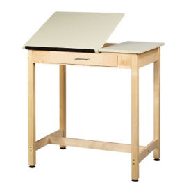 "36""H Dual Surface Drafting Table with Large Drawer, A11170"