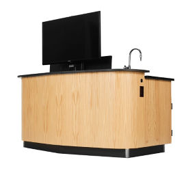 Instructor's Desk with Monitor Mount and Sink, D30273