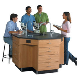 "Octagonal Workstation with Drawer Base - 54""W, L70035"