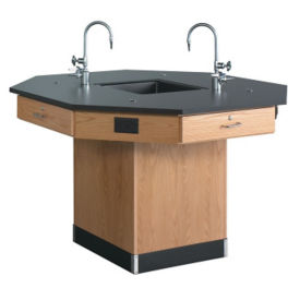 "Octagonal Workstation with Pedestal Base - 62""W, L70036"
