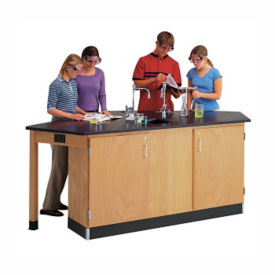 Lab Workstation with Sink and Locking Cabinets, L70045
