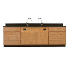 Wall Service Lab Bench with Outer Cabinets, L70070