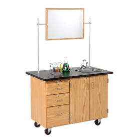 Mobile Lab Demonstration Table with Pegboard, L70075