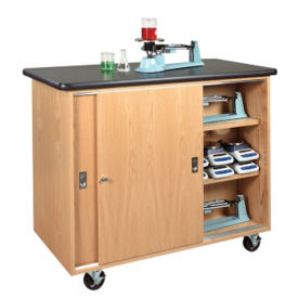 Mobile Lab Storage Cabinet with Sliding Doors, L70087