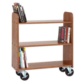 Large Three Shelf Mobile Book Cart - Flat Shelves, L70090