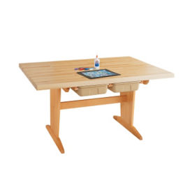 "Art Planning Table with Maple Top and Trays 26""H, T11339"
