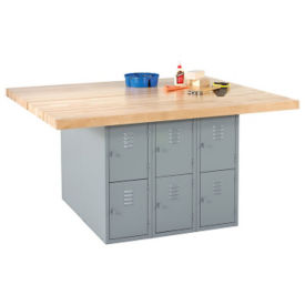 "Workbench with Twelve Gray Steel Lockers - 54"" x 64"", T11794"