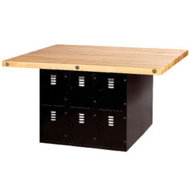 "Workbench with Twelve Black Steel Lockers - 54"" x 64"", T11795"