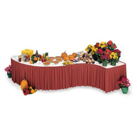"Skirting and Table Topper Set for Two 30"" x 72"" Serpentine Tables, V22003"