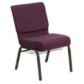 Fabric Stacking Assembly Chair with Bookrack, C60028