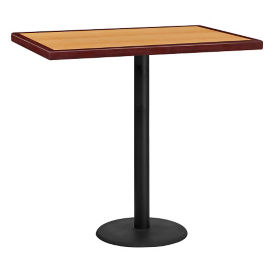 "42"" x 30"" Bar Height Rectangular Table with Round Base, T11857"