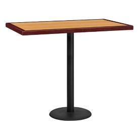 "48"" x 30"" Bar Height Rectangular Table with Round Base, T11861"