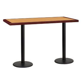 "60"" x 30"" Bar Height Table with Two Round Bases, T11865"