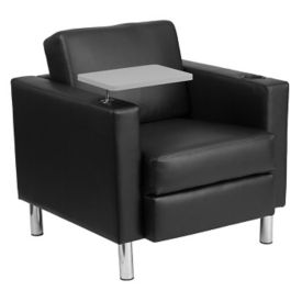 Faux Leather Guest Chair with Tablet and Cup Holder, W60033