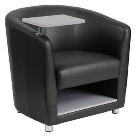 Faux Leather Tablet Arm Chair with Lower Storage , W60035