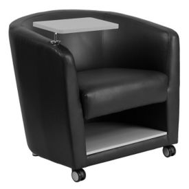 Faux Leather Tablet Arm Chair with Lower Storage and Casters, W60039