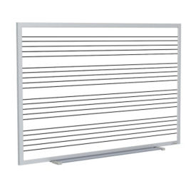 Porcelain Whiteboard with Music Staff Lines and Blade Type Tray - 6' x 4', B23273