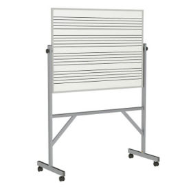Reversible Whiteboard with Music Staff Lines and Box Tray - 3' x 4', B23282