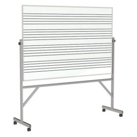 Reversible Whireboard with Music Staff Lines and Blade Tray - 4' x 6', B23283