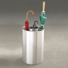 "Satin Aluminum Five Compartment Umbrella Stand - 23""H, V20031"