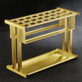 """Satin Brass 24 Slot Umbrella Stand- 18""""H, V20038"""