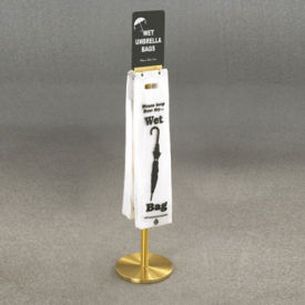 Satin Brass Standing Wet Umbrella Bag Holder With Sign Holder, V20072