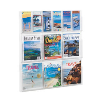 Literature Rack with 6 Brochure and 6 Magazine Pocket, D33039