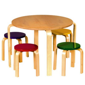 Nordic Table with 4 Colored Top Stools, P30130