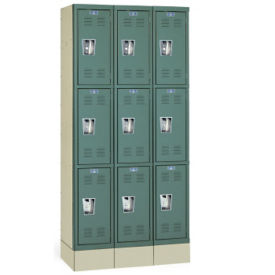"Triple Tier Lockers Assembled 12"" W x 15"" D x 24"" H, B30159"