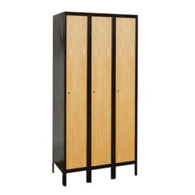 "Assembled 1 Tier 3 Wide Wood Hybrid Locker 45""W x 18""D, B34076"