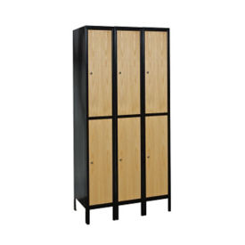 "Assembled 2 Tier 3 Wide Wood Hybrid Locker 45""W x 18""D, B34080"