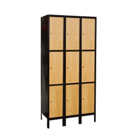 "Assembled 3 Tier 3 Wide Wood Hybrid Locker 36""W x 18""D, B34082"