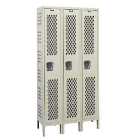 "Assembled 1-Tier 3-Wide Ventilated Locker 54"" W x 18"" D, B34237"