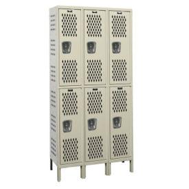 """Assembled 2-Tier 3-Wide Ventilated Locker 36"""" W x 18"""" D, B34239"""