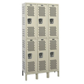"Assembled 2-Tier 3-Wide Ventilated Locker 45"" W x 15"" D, B34242"
