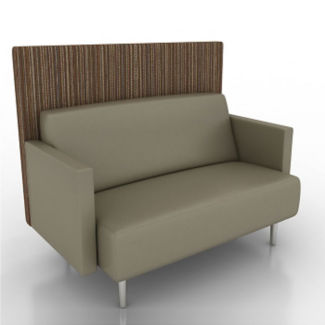 Vinyl Lounge Loveseat with Fabric Back Panel, W60747