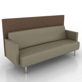 Vinyl Lounge Sofa with Fabric Back Panel, W60761