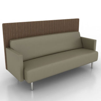 Vinyl Lounge Sofa with Fabric Back Panel, W60761