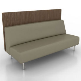 Vinyl Armless Lounge Sofa with Fabric Back Panel, W60766