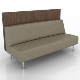 Vinyl Armless Lounge Sofa with Fabric Back Panel, W60766