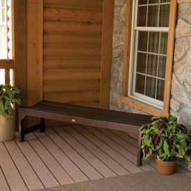 "Synthetic Wood Outdoor Parson Leg Bench 60""W, F10002"