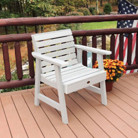 Synthetic Wood Horizontal Slat Outdoor Garden Chair, F10011