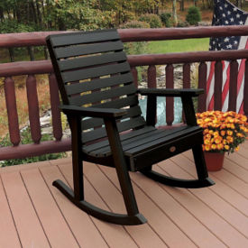 Synthetic Wood Horizontal Slat Outdoor Rocking Chair, F10010