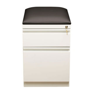 "White Two Drawer Mobile Pedestal with Cushion - 20""D, L40859"
