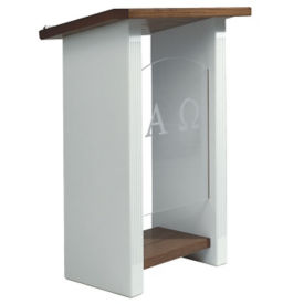 Plexiglass Pulpit with White Fluted Legs, C30119