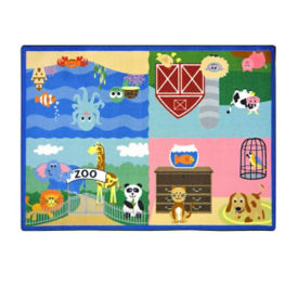 "Animals All Around Rectangle Rug 92"" x 129"", P40086"