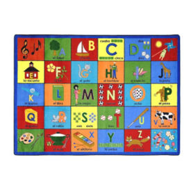 "Bilingual Phonics Rectangle Rug 129"" x 158"", P40098"