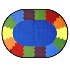 "Block Party Round Rug 91"" Diameter, P40103"