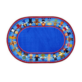 "Children of Many Cultures Oval Rug 92"" x 129"", P40117"