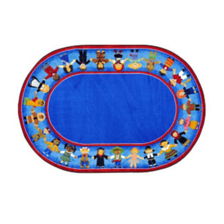 """Children of Many Cultures Oval Rug 65"""" x 92"""", P40115"""